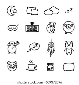 Sleeping icons set