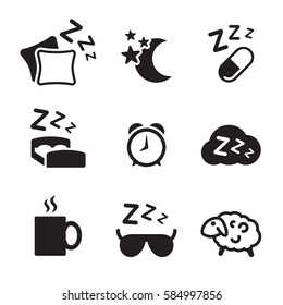 Sleeping icons set. Black on a white background
