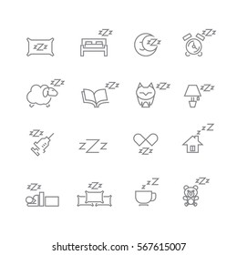 Sleeping icons set ,Vector