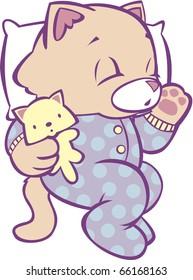 Sleeping Kitten in Polka Dot Pajamas Full Color