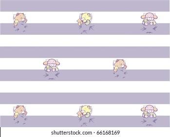 Sleeping Kitten, Puppy, Teddy Pattern Full Color