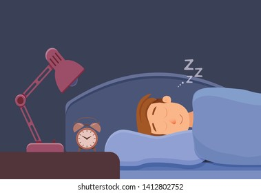 Sleeping man face cartoon character happy guy have a sweet dream. Person with closed eyes in darkness night lying on bed, pillow, blanket. Resting male napping, tired, sound zzz vector illustration