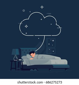Sleeping man having a dream concept template. Cool vector flat illustration with empty dream cloud and sleeping man