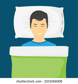 Sleeping man lying on a pillow and dreaming at night. Man is sleeping in his bed. Vector illustration