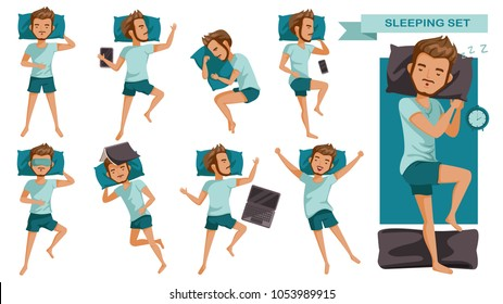 Sleeping man set. Many views of sleep. Front, side, rear, top. lie on the tummy, Sleep on one's side, lie supine, Various gestures. cartoon of male guy in pajamas. Vector illustrations isolated