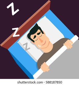 Sleeping man. Snoring man in modern flat style for web banners and info graphics. Sweet dreams. Fall a sleep