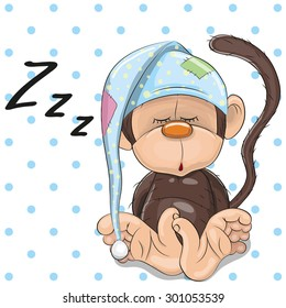 Sleeping Monkey in a cap on a dots background