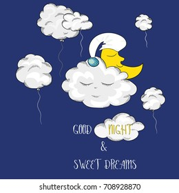 Sleeping moon with clouds on the sky. Vector illustration on blue background. Good night and sweet dreams