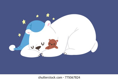 Sleeping polar white bear vector animal cute beauty character funny style pose celebrate Xmas holiday or New Year time big bear animal