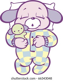 Sleeping Puppy in Checked Pajamas Full Color
