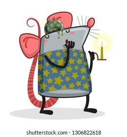 Sleeping rat - Cute Cartoon Animal, Vector Illustration - Vector