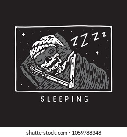 Sleeping skull vector file