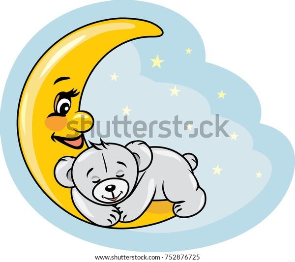sleeping-teddy-bear-on-moon-600w-7528767