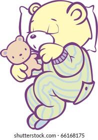 Sleeping Teddy Bear in Striped Pajamas Full Color