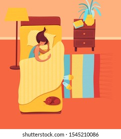 Sleeping woman in bedroom vector illustration. Female sleeper and pet cartoon characters. Young girl lying in bed. Bedtime, nighttime, relaxation. Home coziness, domestic atmosphere concept