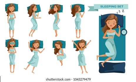 Sleeping woman set. Many views of sleep. Front, side, rear, top. lie on the tummy, Sleep on one's side, lie supine, Beautiful cartoon women Cute girl in pajamas Vector illustrations isolated