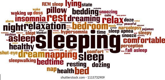 Sleeping word cloud concept. Vector illustration