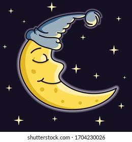Sleeping yellow Moon on a night sky with stars vector illustration
