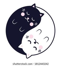 Sleeping Yin Yang Cats. Cute black and white cats in yinyang circle. Vector illustration