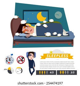 sleepless character with infographic element - vector illustration