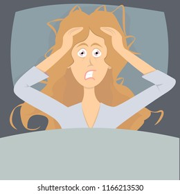 Sleepless girl suffers from insomnia. Woman in bed with open eyes in darkness night room. Flat cartoon vector illustration. Woman character with insomnia or nightmare lying in bed
