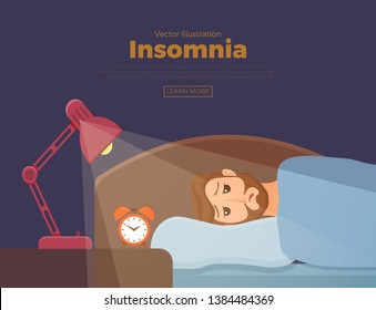 Sleepless man face cartoon character suffers from insomnia. Guy with open eyes in darkness night lying on bed concept. Sad male awake, tired with can t dream problem vector illustration