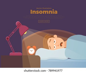 Sleepless man face cartoon character suffers from insomnia. Guy with open eyes in darkness night lying on bed concept. Sad male  awake, tired with canâ??t dream problem vector illustration
