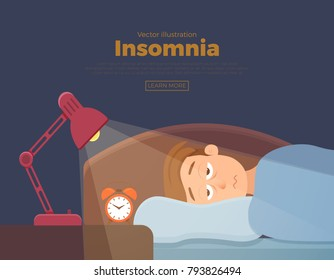 Sleepless man face cartoon character suffers from insomnia. Guy with open eyes in darkness night lying on bed concept. Sad male  awake, tired with cant dream problem vector illustration