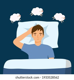 Sleepless man suffering from insomnia and counting sheep. Guy with open eyes in darkness night lying on bed concept vector illustration. Young man try to sleep under blanket.