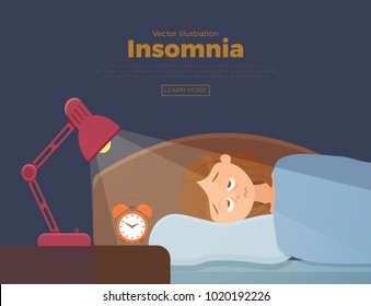 Sleepless woman face cartoon character suffers from insomnia. Girl with open eyes in darkness night lying on bed concept. Sad female  awake, tired dream problem vector illustration