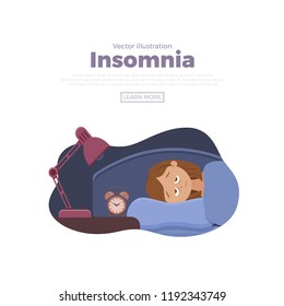 Sleepless woman face cartoon character suffers from insomnia. Girl with open eyes in darkness night lying on bed concept. Sad female  awake, tired with can't dream problem vector illustration