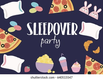 Sleepover invitation card with cute elements. Girl party. Vector illustration