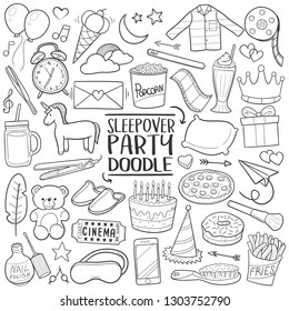 Sleepover Party Girls Traditional Doodle Icons Sketch Hand Made Design Vector