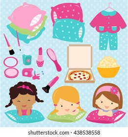 Sleepover slumber party for girls vector illustration