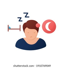 Sleepwalking flat icon. Sleep disorder. Healthy sleeping concept. Sleep problems treatment. Lunatizm trouble. Lunatic. Health care. Color isolated vector illustration