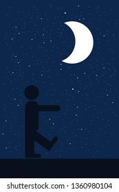 Sleepwalking / Sleep walking - sleepwalker man is walking during night.
