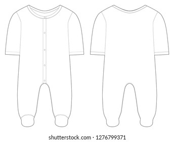 Sleepwear for baby boys and girls. Button closure. Technical drawing. Vector illustration