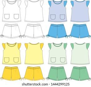 sleepwear vector template for girl