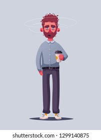 Sleepy businessman character. Cartoon vector illustration. Insomniac. Person with a coffee cup. Insomnia or depression