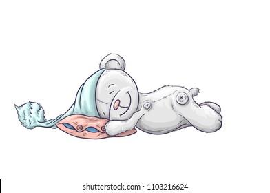 Sleepy cute cartoon bear in the cap.
