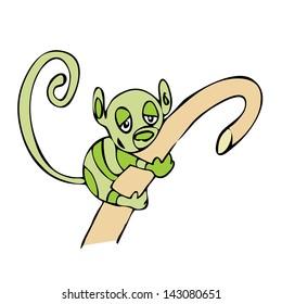 Sleepy cute monkey holding a wooden stick. Cartoon.