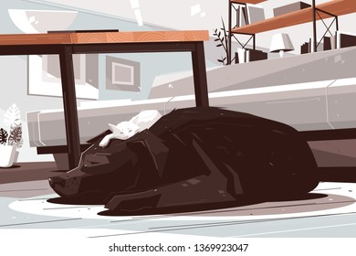 Sleepy dog and cat daydreaming in living room. Buddies lying on carpet vector illustration. Giant retriever allowing small furry kitten sleeping on head flat style design. Strange friendship concept