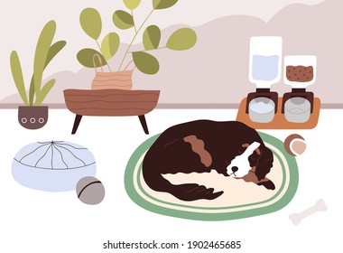 Sleepy dog staying home alone with smart automatic pet feeders or food dispensers with dry feed and water. Calm animal sleeping on floor in modern room with good conditions. Flat vector illustration