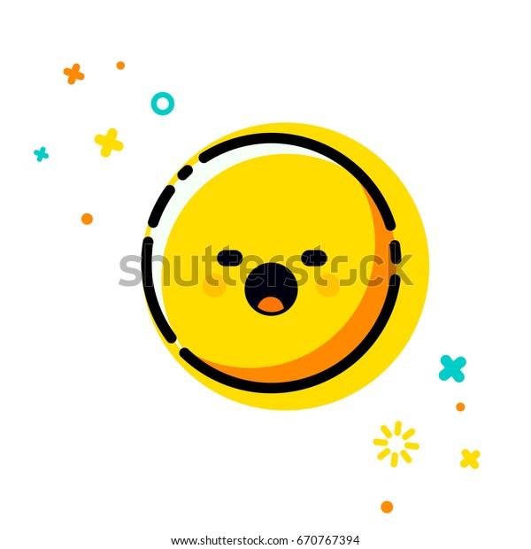 Sleepy Emoticon Trendy Flat Line Emoji Stock Vector (Royalty Free