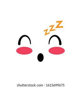 sleepy face cartoon design, Kawaii expression cute character funny and emoticon theme Vector illustration