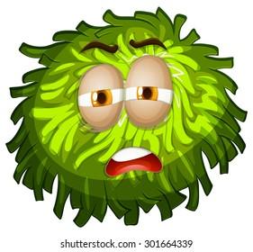 Sleepy face on fluffy green ball