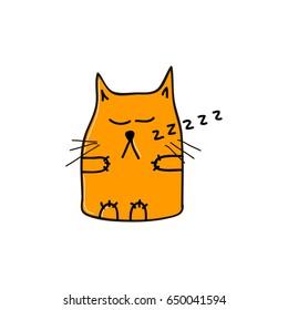 Sleepy funny orange cat. Vector illustration.