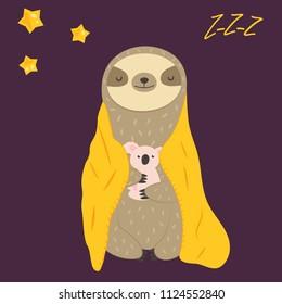 Sleepy funny sloth turning in blanket in paws. Cute animal