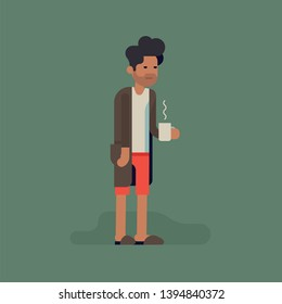 Sleepy grumpy man in underwear, slippers and bathrobe standing with cup of hot black coffee isolated. Funny vector concept illustration on Monday mornings