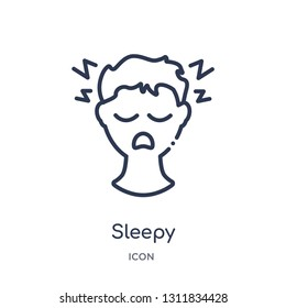 sleepy icon from other outline collection. Thin line sleepy icon isolated on white background.